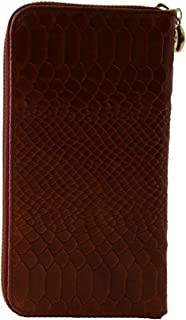 Made In Italy Genuine Leather Python Printed Woman Wallet Color Red - Accessories