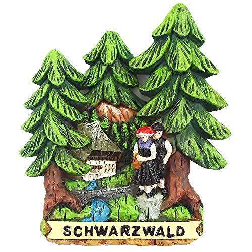 Goldschmidt Schwarzwald Magnete | Kühlschrankmagnet Heimat | Bollenhut Kirschtorte Tannen | Geschenke Accessoires | Black Forest (Tannenbäume 6,5cm)