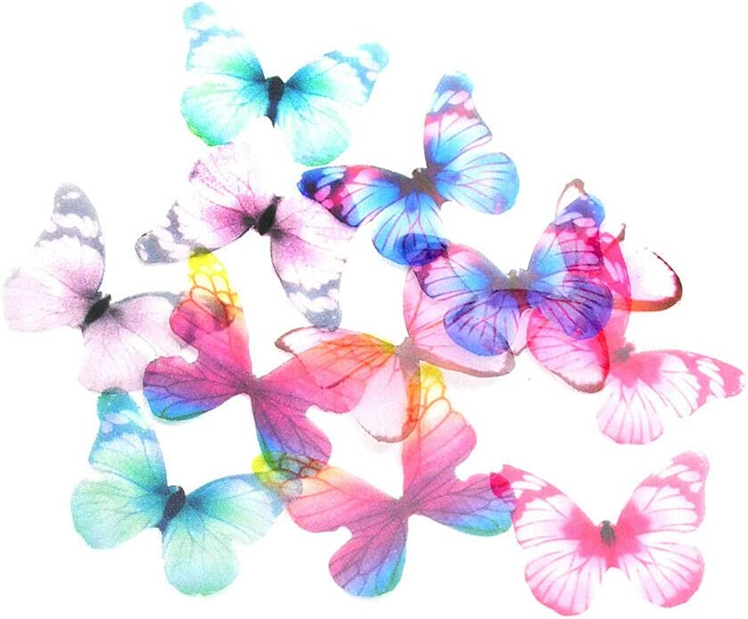 12Pcs Chiffon Year-end annual account Soldering Butterfly Scrapbooking for Hair Embellishments DIY
