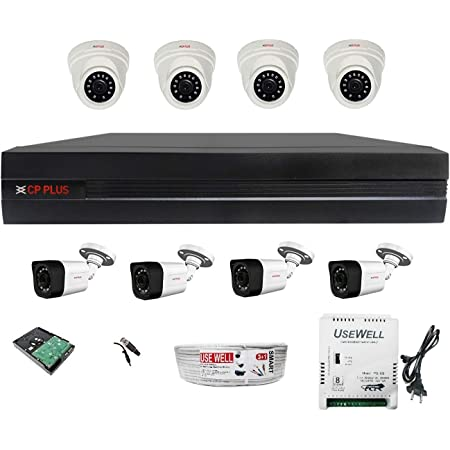 CP Plus Astra HD 8 Channel DVR with 2.4 MP 4 Dome & 4 Bullet Cameras + 2 TB Surveillance HDD + (3+1) Cable 90 Mtr + 8 CH Power Supply + BNC & DC Full Combo Kit