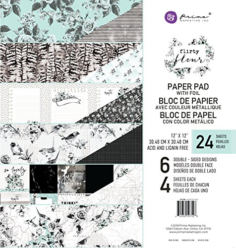 Prima Marketing Inc. Flirty Fleur 12x12 Paper Pad, Black & Teal