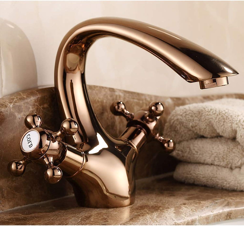 Retro Faucet Chrome Faucet Sink Tap Dual-Lever Antique Copper Retro Vintage Water Sink Faucets