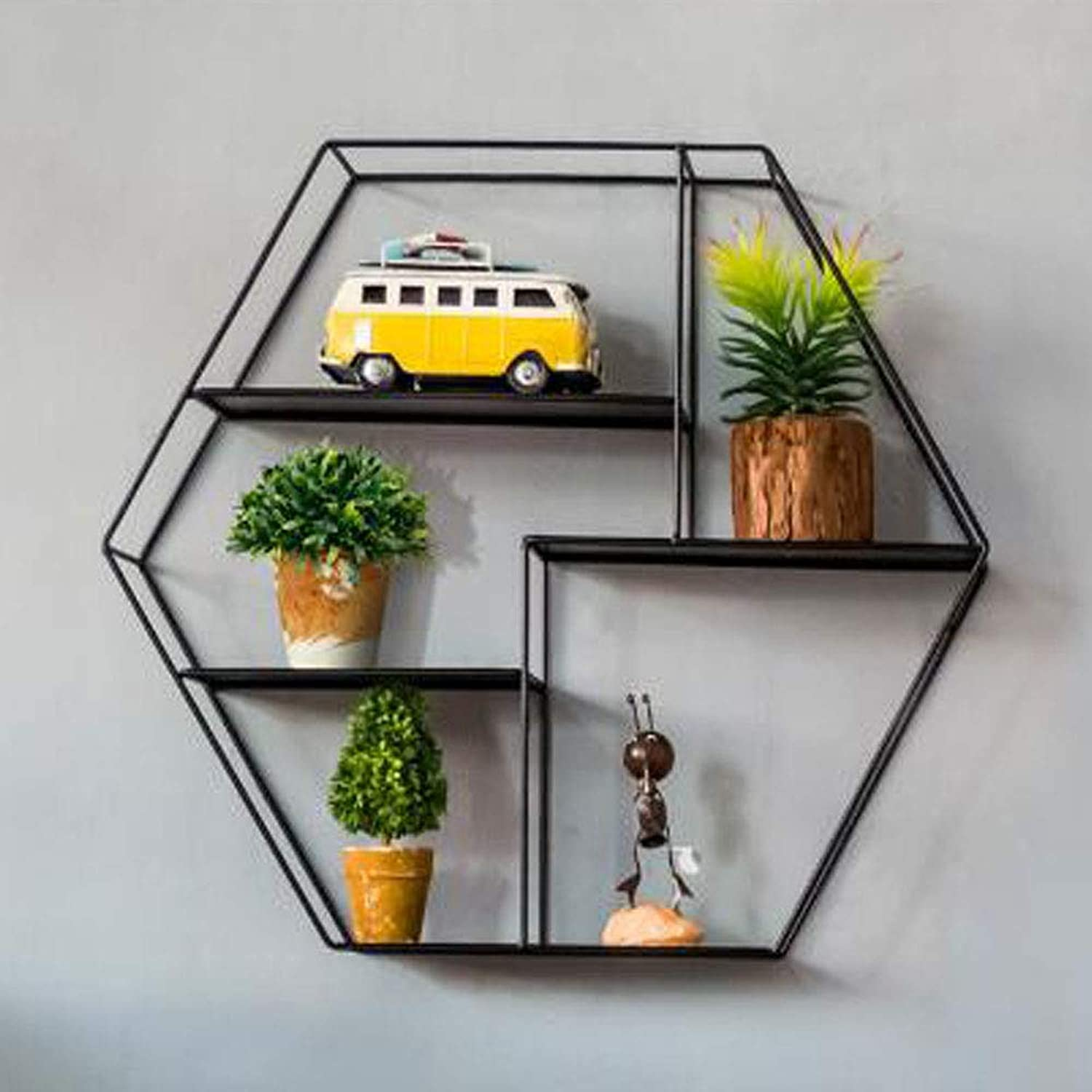 LIAN Modern Minimalist Wrought Iron Hexagonal Rack Hotel Creative Storage Wall Hanging Beauty Store Wall Personality Display Rack (color   Black(52  11  45cm))