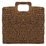Straw Tote Bag Women Hand Woven Large Casual Handbags Hobo Straw Beach Bag with Lining Pockets for Daily Use Beach Travel (Deep coffee color)