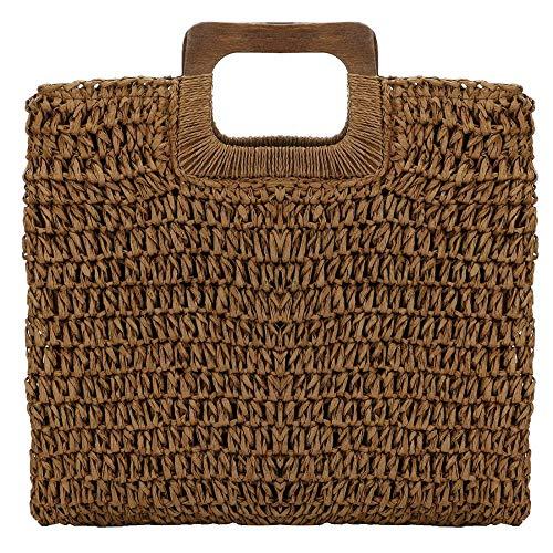 Borsa da donna in paglia creativa chic intrecciata borsa a tracolla con manico superiore Colore caffè. Etichettalia unica