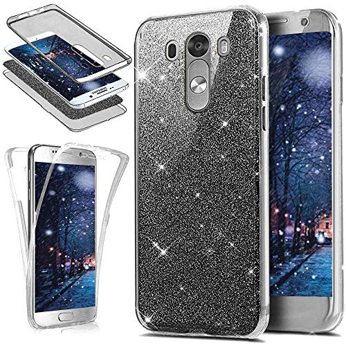 Funda LG G4,Carcasa LG G4.KunyFond Case Cover TPU Frontal Trasera 360 Grado Silicona Purpurina Brillantes Brillo Bling Gold Glitter Light Crystal Colorida Full TPU Resisten Bumper Anti Rasguno-Negro