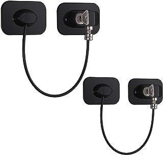 2 Piezas Cerraduras Nevera 18 cm Cable de Acero Inoxidable 304 Cerradura para Muebles con Adhesivo Fuerte Sin Taladro para Ventanas Puertas Refrigerador Gabinete Armarios Cajones-Rectangular Negro