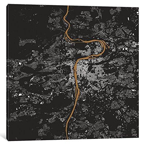 iCanvasART ESV261 iCANVAS Prag Urban Map (Gold) Druck von Urbanmap, 94 x 1,9 x 94 cm Tiefe: 1,9 cm, Leinwand, gespannt 18