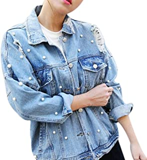 CHICFOR Womens Denim Jacket Long Sleeve Boyfriend Ripped Pearl Beading Button Up Denim Jean Jacket