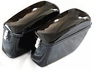 LW Vivid Black Large Hard Saddle Bag Trunk W/brackets for Harley Honda Suzuki Yamaha Hard Saddlebags
