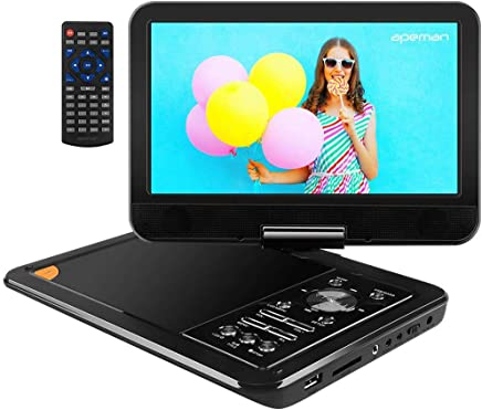APEMAN 9.5'' Portable DVD Player with Swivel Screen Remote Controller Support SD Card USB DVD AV in/Out Earphone Speaker 5 Hours Built in Rechargeable Battery for TV Kids Car Travel Companion