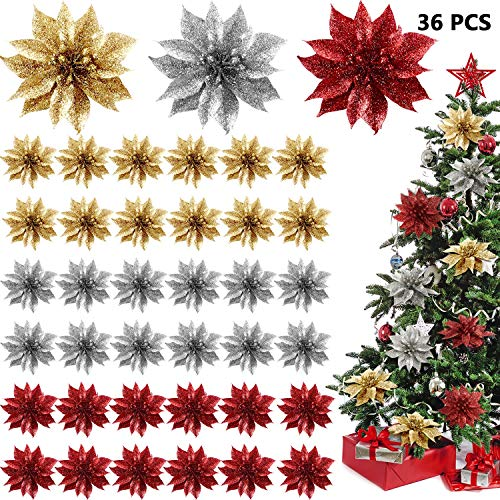 WILLBOND 36 Pieces Christmas Glitter Poinsettia Flowers Decorative Artificial Flowers for Christmas Wreath Christmas Tree Ornaments (Red, Gold, Silver)
