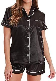 Zeidld レディース パジャマ 女性 夏 ホームボタンダウンソリッド シルクサテンパジャマ半袖2点セットマPJ レディース ナイトウェア 寝間着