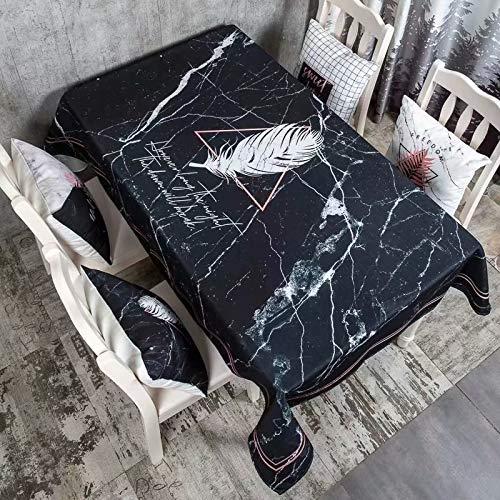 Creek Ywh Ins. Mantel Blanco y Negro de algodón y Lino Mantel de mármol Rojo Impermeable Rectangular Mesa Redonda Dormitorio Mesa Mantel paño de Mesa, Encanto, 140 * 200