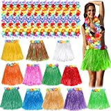Toyssa Juego de 12 Falda Hawaiana con Collar de Flores Hawaianas Falda de Hierba de Hula y Collar Flores Hawai Fiestas de Disfraces Fiesta Hawaiana Luau Playa para Niñas Mujer Adultos