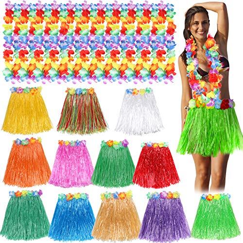Toyssa Juego de 12 Falda Hawaiana con Collar de Flores Hawaianas Falda de Hierba de Hula y Collar Flores Hawai Fiestas de Disfraces Fiesta Hawaiana Luau Playa para Nias Mujer Adultos