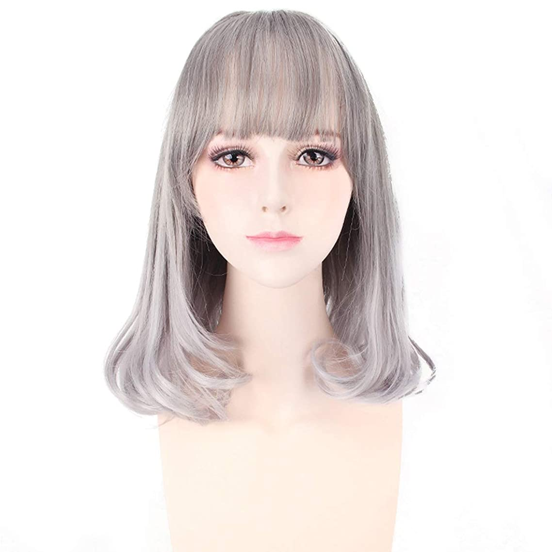 会う立法寄付するKoloeplf チーバンズショートヘアウェーブヘッドふわふわリアルガールウィッグ (Color : Silver gray)