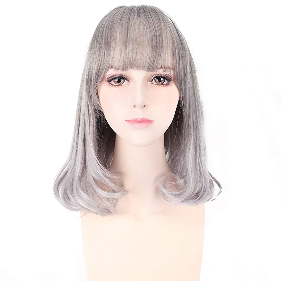 吹雪ダンスコントラストKoloeplf チーバンズショートヘアウェーブヘッドふわふわリアルガールウィッグ (Color : Silver gray)