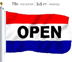 G128 – Open Sign Business Flag   3x5 feet   Printed – Vibrant Colors, Brass Grommets, Quality Polyester