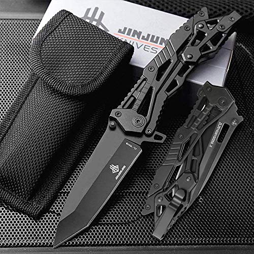NedFoss Zweihand Klappmesser, Zweihandmesser mit hochwertiger Edelstahlklinge 5Cr13Mov, Outdoor Survival Messer丨Scharfes EDC Messer mit Gürtelclip, Schwarz
