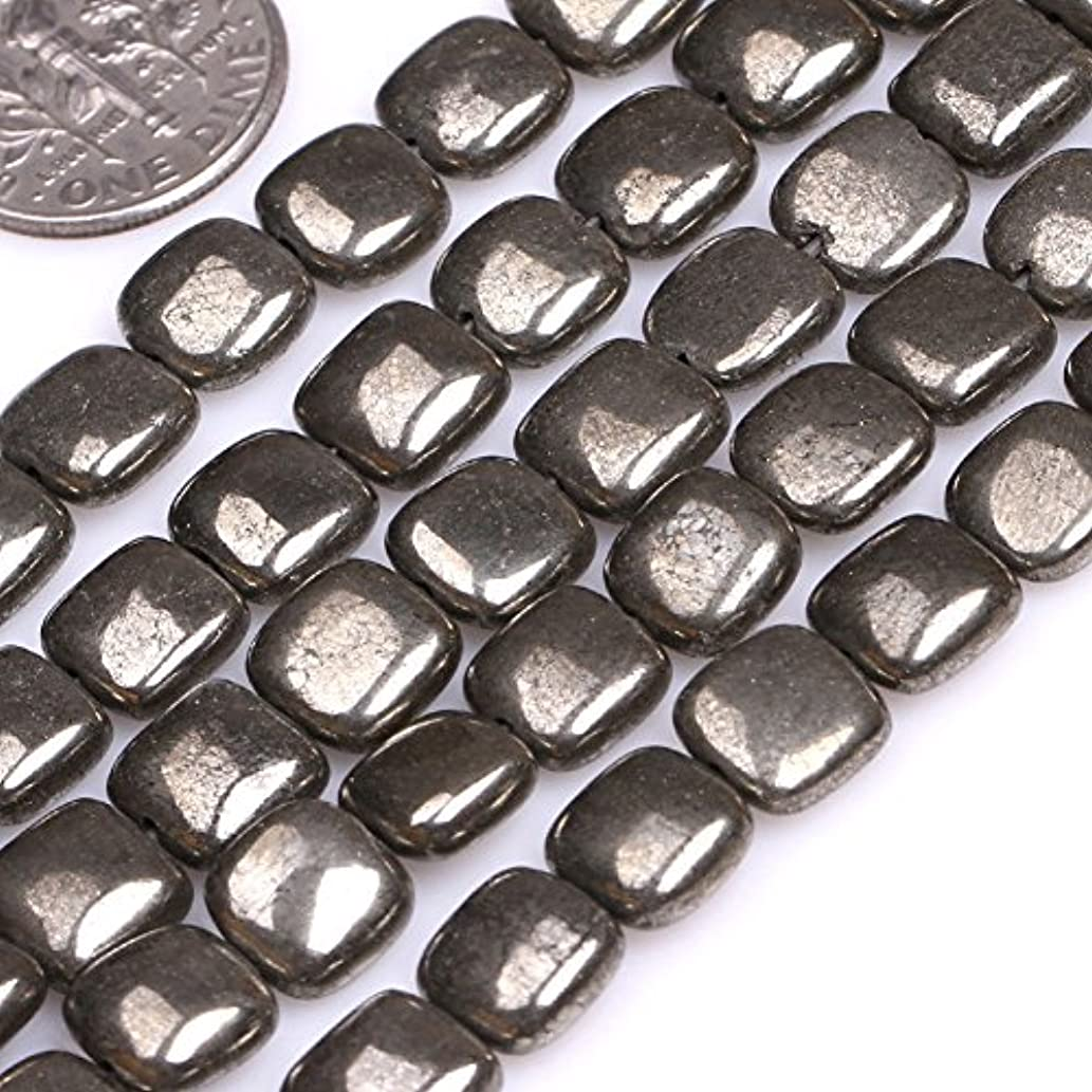 GEM-inside 8MM Square Silver Gray Pyrite Beads Strand 15 Inches