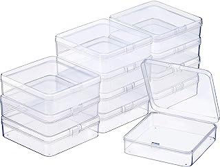 SATINIOR 12 Piezas Contenedor de Abalorios de Plástico Transparente Caja con Tapa de Bisagras para Abalorios y Más (3.70 x 3.70 x 1.18 Pulgadas)