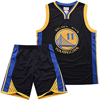 Warriors 11th Thompson Embroidered Jersey Set Breathable Sweat Short Sleeve T-Shirt Summer Basketball Sportswear Black, Unisex Basketball Wear T-Shirt Stitching Letters TFTREE