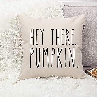 GTEXT Famhouse Fall Decor Hey There Pumpkin Pillow Cover Cuhion Cover Autumn Farm Decor 18x18 inch Outdoor Pillow Cushion,Sofa Fall Pillow Cover