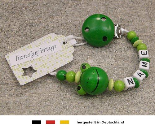 kleinerStorch Baby SCHNULLERKETTE mit Namen - Schnullerhalter mit Wunschnamen - Mädchen Jungen Motiv Frosch in grün