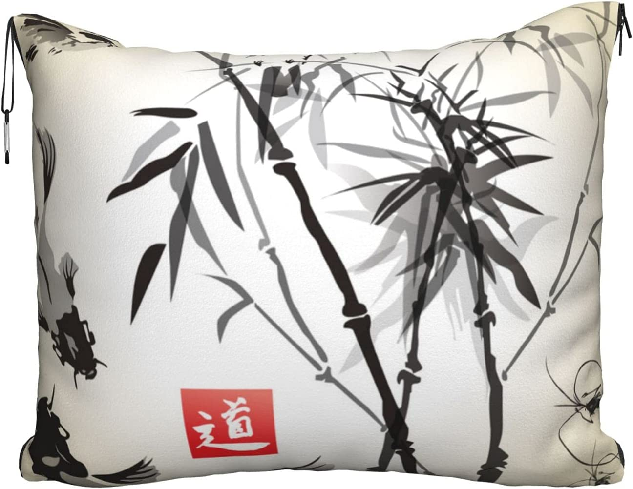 Mescchskfish Bird and New popularity Bamboo Leaves Print Pillow Travel Popular products Painting