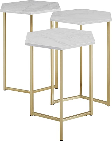 Priya Home Furniture Modern Glam Design Hex Nesting Tables Set Of 3 Faux White Marble Gold