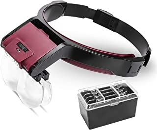 AZFUNN Headband Magnifier with LED Light, Hands Free Head Mount Magnifying Glass of 1.7X to 6X for Sewing Reading Repair Watch Jewelry Close Work