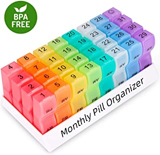 COLORWING Pill Organizer Monthly - 31 Day Pill Box Weekly AM/PM Pill Case Large Compartments to Hold Vitamin Supplement and Medication Travel Medicine Organizer.