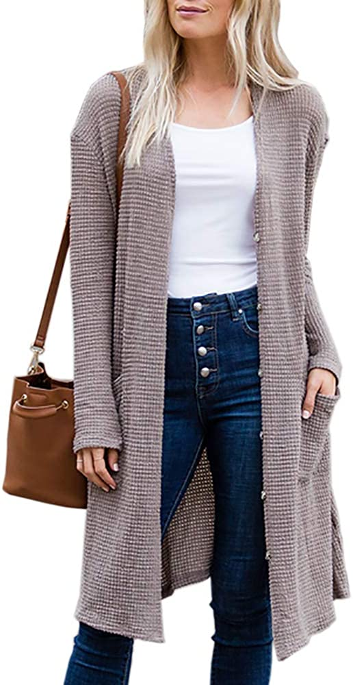 Womens Button Down Long Sleeve Waffle Knit Cardigan Thermal Long Cover Ups with Pockets