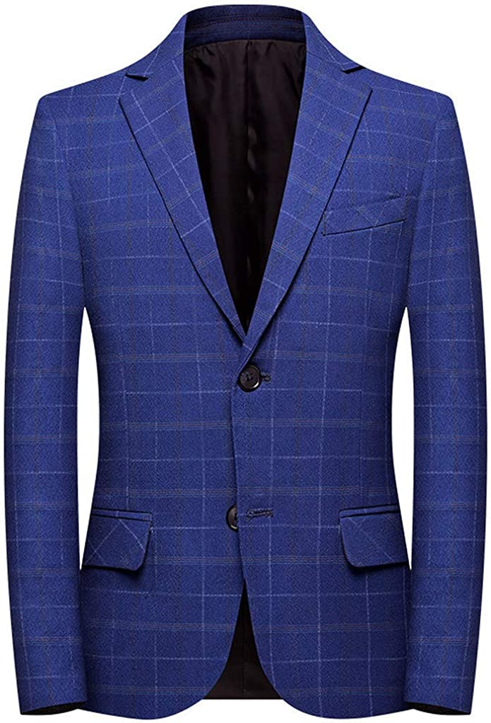 Casual Men's At the price Plaid Blazer Great interest Autumn Stan Jacket Work Business Solid