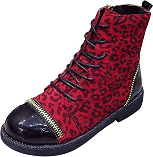 2d9eb892 Moda Calzado Mujer Botas Zapatillas Deportivas Mujeres Estilo Europeo Moda  Estilo Leopardo Cremallera Gruesa Botas Zapatos