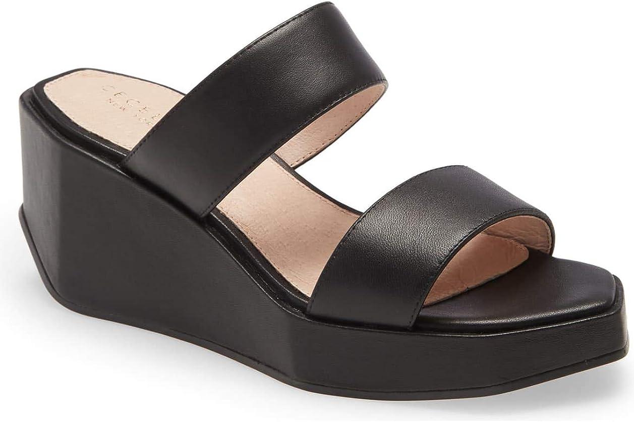 Cecelia New York Baily Platform Slide Sandal Black Leather Open Toe Wedge Mule