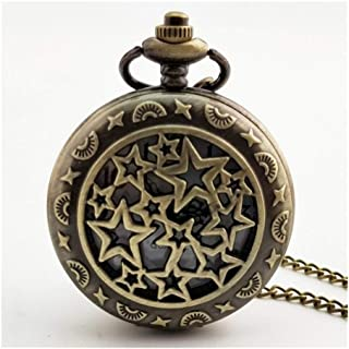 New Star Carved Steampunk Pocket Watch Vintage Antique Round Dial Quartz Watch Chain Necklace Pendant Clock for Men Women ...