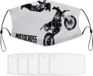 Roupaze Children Face Masks Weathered Effect with Biker Silhouette and Motocross Racing Moves Theme Windproof Face Mouth C...