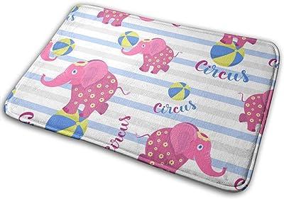 Decorative Doormat Home Decor Pink Circus Elephant Welcome Indoor Outdoor Entrance Bathroom Floor Mats Non Slip Washable Mat, 23.6 x 15.7 inch