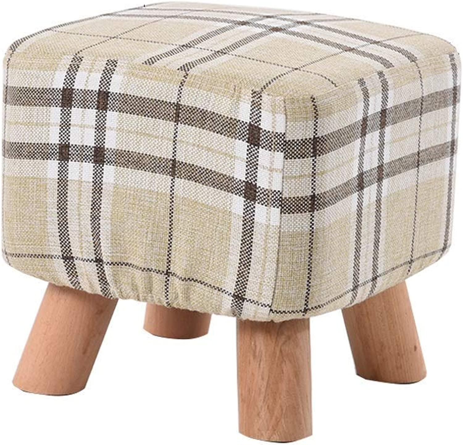 Change shoes Bench Footstool Solid Wood Production Chair Stool Household Multifunction LEBAO (color   Khaki)