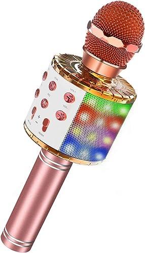 ATOPDREAM Microphone Bluetooth sans Fil Karaoké pour Enfants Soirée KTV Passionné de Musique - Cadeau & Jouet