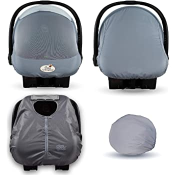 Cozy Combo Pack (Glacier Gray) – Sun & Bug Cover Plus a Lightweight Summer Cozy Cover - Trusted by Over 6 Million Moms Worldwide – Protects Your Baby from Mosquitos, Insects, The Sun, Wind
