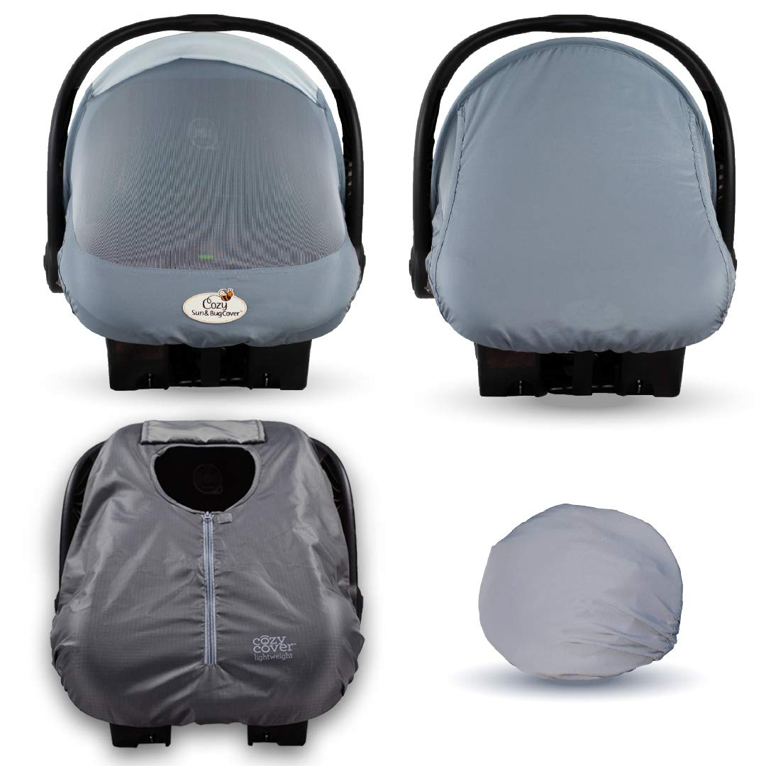 Cozy Combo Pack (Glacier Gray) – Sun & Bug Cover Plus a Lightweight Warm Weather Cozy Cover - Trusted by Over 6 Million Moms Worldwide – Protects Your Baby from Mosquitos, Insects, The Sun, Wind