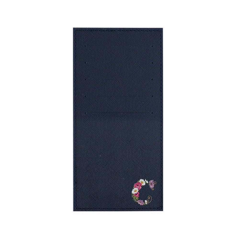 ペインティング経営者インナーカードケース 長財布用カードケース 10枚収納可能 カード入れ 収納 プレゼント ギフト 2791フラワーネーム ( C ) ネイビー