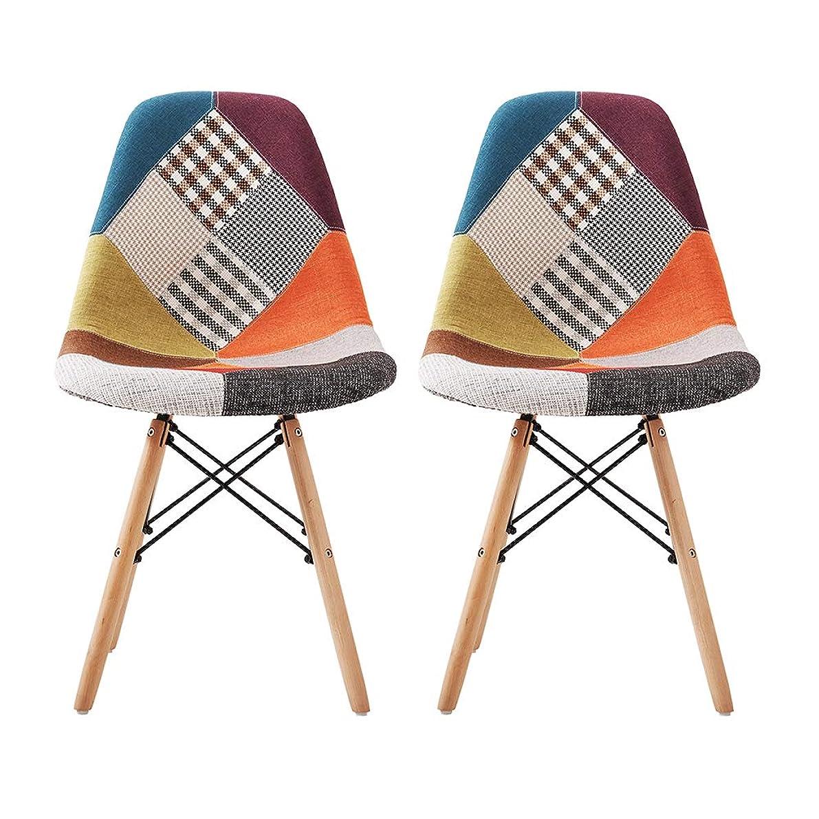 手サイドボードスズメバチ【2脚セット】椅子 イームズチェア デザイナーズ リプロダクトダイニングチェア 椅子 木脚ベース 布地ファブリックタイプ レイ イームズチェア 北欧 木製いす 食卓椅子 おしゃれ 組立簡単 (ブルー)