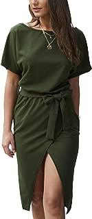 Womens Short Sleeves Tie Waist Split Midi Dress Bodycon Bottom Slit Casual Attire