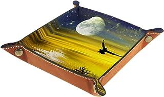 Boîte de rangement de bureau en cuir PU pliable boîte de rangement en dés pour jeux de table beau paysage