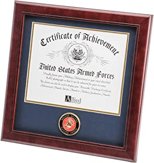 Allied Frame US Marine Corps Certificate of Achievement Picture Frame with Medallion - 8 x 10 Inch Opening