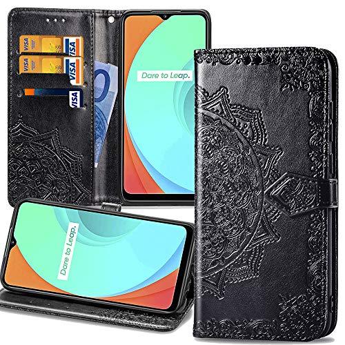 Capa carteira XYX para Moto Z4, Moto Z4 Play 3D Mandala Flower Capa protetora de couro PU para Motorola Moto Z4 Play/Moto Z4 - Preta